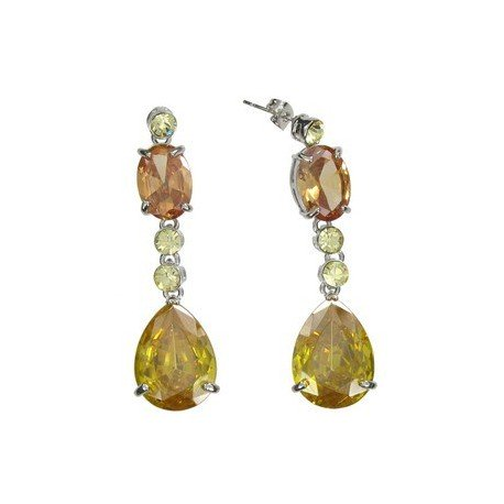 EARRING - PLATED: RHODIUM - IN COLOURS: YELLOW, TOPAZ, BROWN