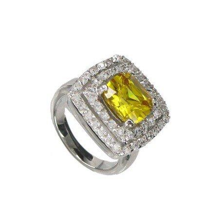 Sortija-Anillo de oro blanco en colores amarillo, cristal. Con circonitas