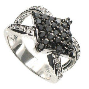 RINGS - PLATED: RHODIUM - IN COLOURS: BLACK