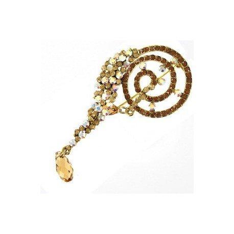 Broche de oro en colores topacio, amarillo, marrón. Mediano. Con cristales