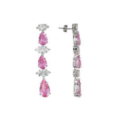 Pendientes de oro blanco en colores cristal, rosa. Largos. Con circonitas