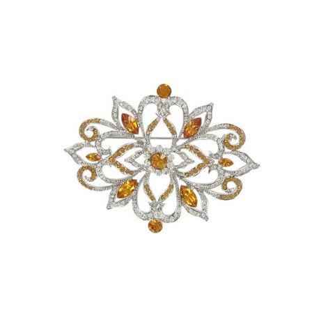 Broche de oro blanco en colores cristal, topacio, amarillo. Mediano