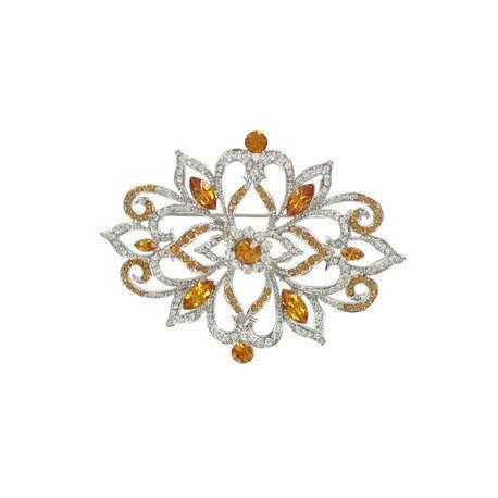 BROOCHES - PLATED: RHODIUM - IN COLOURS: YELLOW, TOPAZ, CRYSTAL