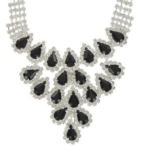 NECKLACES - PLATED: SILVER - IN COLOURS: BLACK, CRYSTAL