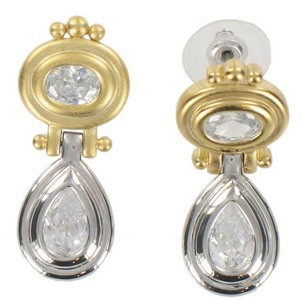 EARRING - PLATED: GOLD - IN COLOURS: CRYSTAL
