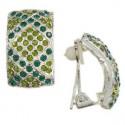 Pendientes de plata en color verde. Cortos. Con cristales. Cierre de clip.