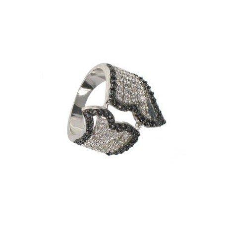 Sortija-Anillo de oro blanco en colores negro, cristal. Con cristales, circonitas