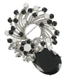 BROOCHES - PLATED: RHODIUM - IN COLOURS: WHITED, BLACK