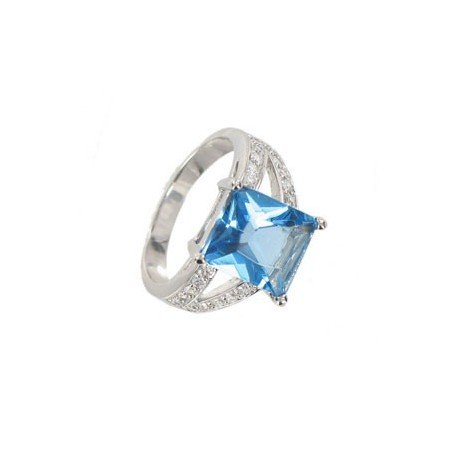 RINGS - PLATED: RHODIUM - IN COLOURS: BLUE