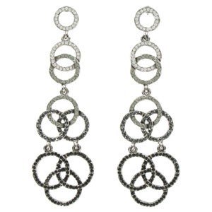 EARRING - PLATED: RUTHENIUM - IN COLOURS: BLACK, GRAY, CRYSTAL