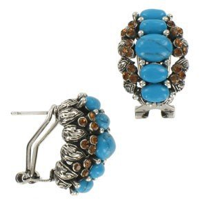 EARRING - PLATED: ANTIQUE SILVER - IN COLOURS: BLUE, TURQUOISE