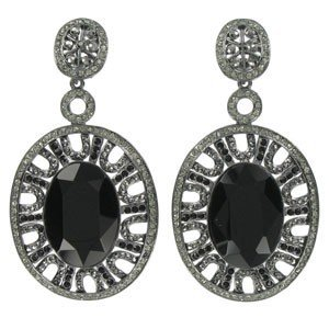 EARRING - PLATED: ANTIQUE SILVER - IN COLOURS: BLACK, GRAY