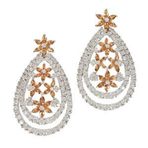 EARRING - PLATED: RHODIUM - IN COLOURS: YELLOW, TOPAZ, CRYSTAL