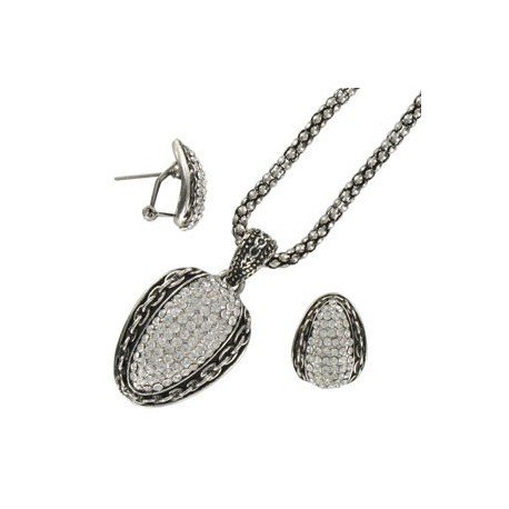 SETS - PLATED: ANTIQUE SILVER - IN COLOURS: CRYSTAL