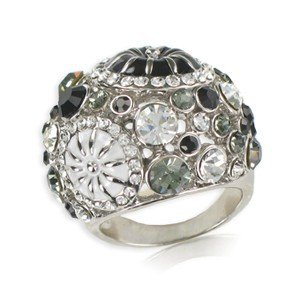 RINGS - PLATED: RHODIUM - IN COLOURS: WHITED, BLACK, GRAY, CRYSTAL