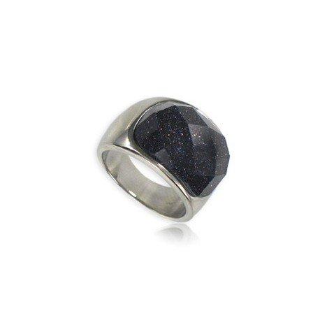 Sortija-Anillo de acero en color azul. Con piedra natural