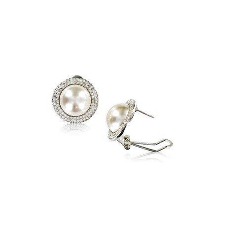 Pendientes de oro blanco en color cristal. Cortos. Con perlas, cristales