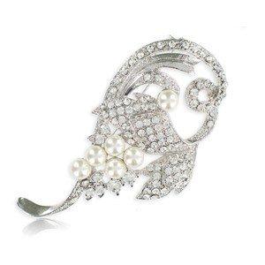 Broche de oro blanco en color cristal. Mediano. Con perlas, cristales