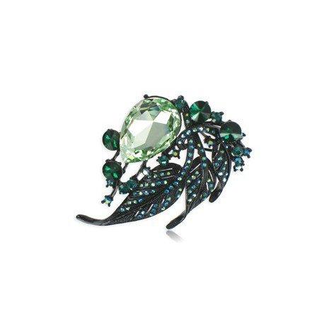 Broche Rutenio Cristales Verde