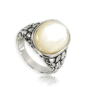 RINGS - PLATED: ANTIQUE SILVER - IN COLOURS: WHITED