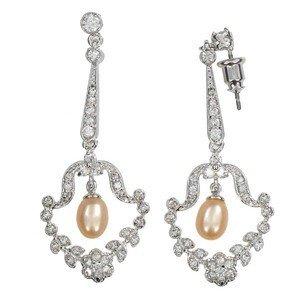 Pendientes de oro blanco en color cristal. Medianos. Con circonitas, perlas