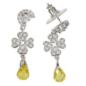 Pendientes de oro blanco en colores amarillo, cristal. Largos. Con circonitas