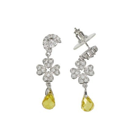 EARRING - PLATED: RHODIUM - IN COLOURS: YELLOW, CRYSTAL
