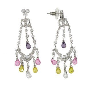 EARRING - PLATED: RHODIUM - IN COLOURS: YELLOW, PURPLE, CRYSTAL, PINK, MULTICOLOR
