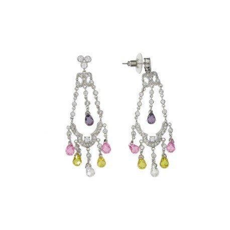 Pendientes de oro blanco en colores rosa, cristal, amarillo, violeta, multicolor