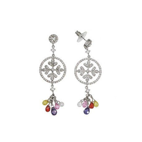 EARRING - PLATED: RHODIUM - IN COLOURS: PREVAILING COLOUR RED, YELLOW, PURPLE, CRYSTAL, PINK, MULTICOLOR