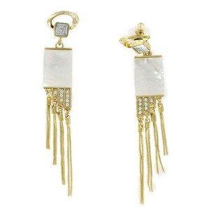 Pendientes de oro en colores blanco, cristal. Medianos. Con nácar