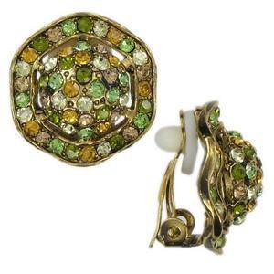 Pendientes de oro en colores amarillo, marrón, verde, topacio. Con cristales