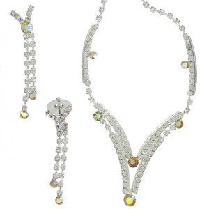 SETS - PLATED: RHODIUM - IN COLOURS: TOPAZ, CRYSTAL