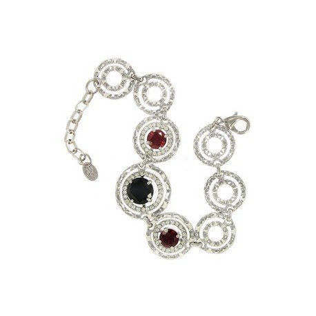 BRACELETS - PLATED: RHODIUM - IN COLOURS: PREVAILING COLOUR RED, BLACK, CRYSTAL