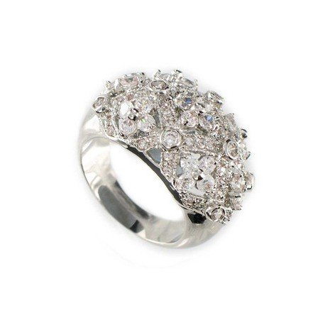 RINGS - PLATED: RHODIUM - IN COLOURS: CRYSTAL