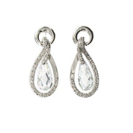 EARRING - PLATED: COOPER - IN COLOURS: CRYSTAL