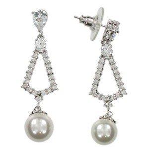 Pendientes de oro blanco en color cristal. Largos. Con perlas, cristales