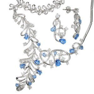 SETS - PLATED: RHODIUM - IN COLOURS: BLUE, CRYSTAL
