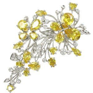 BROOCHES - PLATED: RHODIUM - IN COLOURS: YELLOW, CRYSTAL