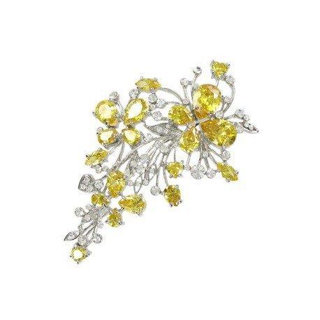 Broche de oro blanco en colores cristal, amarillo. Mediano. Con cristales