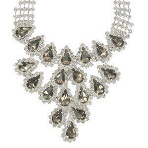 NECKLACES - PLATED: SILVER - IN COLOURS: GRAY, CRYSTAL