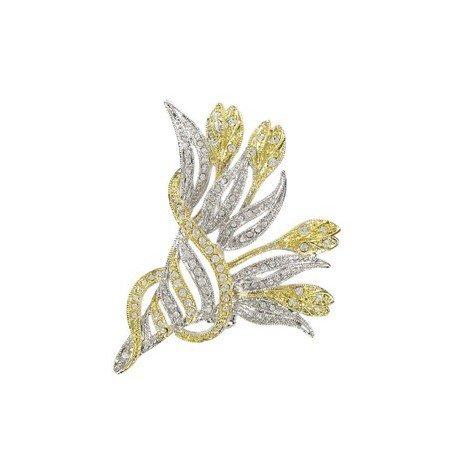 Broche de oro en color cristal. Mediano. Con cristales