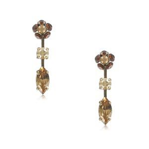Pendientes de oro en colores topacio, marrón. Cortos. Con cristales