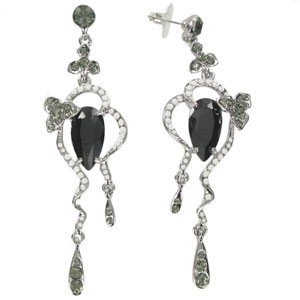EARRING - PLATED: RHODIUM - IN COLOURS: WHITED, BLACK, GRAY
