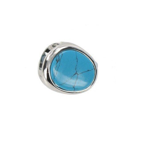 Sortija-Anillo de oro blanco en colores turquesa, azul. Con adornos en resina