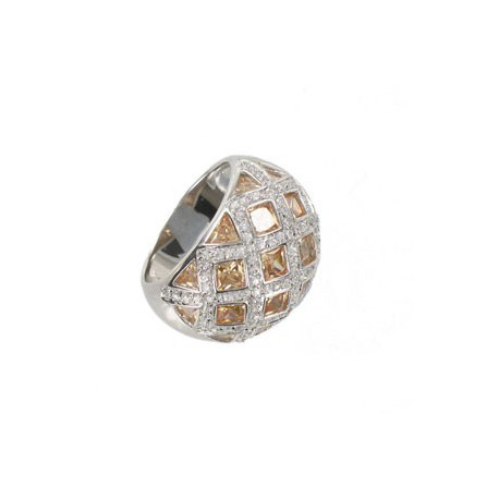 RINGS - PLATED: RHODIUM - IN COLOURS: TOPAZ, BROWN, CRYSTAL