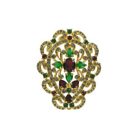 BROOCHES - PLATED: GOLD - IN COLOURS: PREVAILING COLOUR RED, GREEN, CRYSTAL