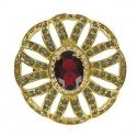 BROOCHES - PLATED: GOLD - IN COLOURS: PREVAILING COLOUR RED, GRAY, CRYSTAL