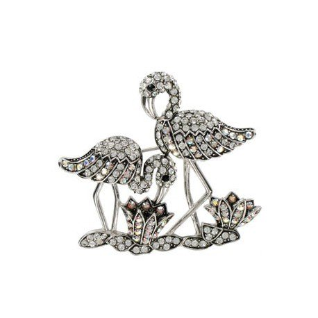 BROOCHES - PLATED: ANTIQUE SILVER - IN COLOURS: CRYSTAL