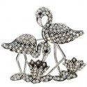 Broche de plata antigua en color cristal. Mediano. Con cristales, motivos animales